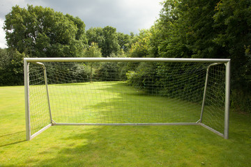 soccer goal on a meadow