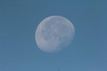 luna quasi piena alla mattina con luce