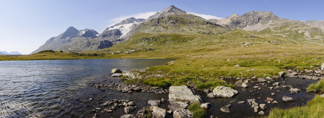 "Mountain and lake near the street pass ""Bernina"", Graubunden, Switzerland"