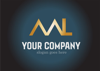 Golden ML Logo Design Vector