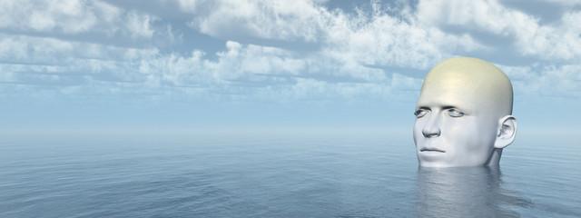 Riesenhafter Kopf im Meer