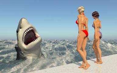 Attraktive Frauen im Bikini beobachten einen weißen Hai