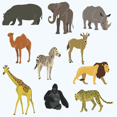 African animals cartoon vector icon set.