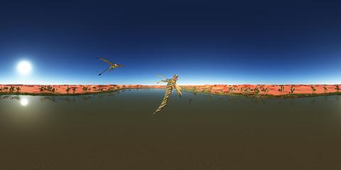 360 Grad Panorama mit dem Flugsaurier Peteinosaurus