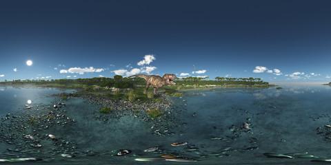 360 Grad Panorama mit dem Dinosaurier Tyrannosaurus Rex am Meer