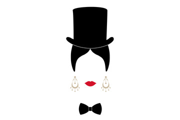 Lady with top hat, Portrait of modern Latin or Spanish woman in male version, Icon isolated, Vector illustration transparent background