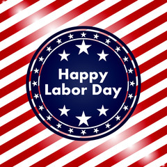 labor day american flag badge or medal shaped vector wallpaper. Red and White Strips Background