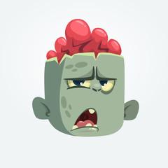 Cartoon funny gray zombie head icon. Vector illustration