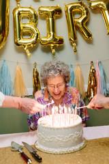 elderly woman celebrating birthday