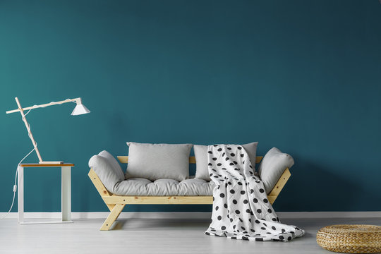 Teal painted living room