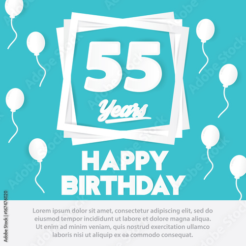 55 th birthday celebration greeting card paper art style design, birthday  invitation poster background with bc23eeffd6