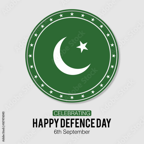 73ebeaadfc Pakistan Defence Day. Happy Defence Day. 6th September. Pakistan Flag  engraved in a badge on Grey Background