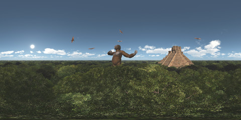 Spherical 360 degrees seamless panorama with giant gorilla, pterosaur Pterodactylus and Mayan temple