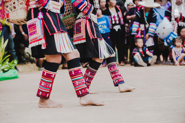 Unidentified people of chiang mai hill tribe dance show and walk show with smile and happy feeling