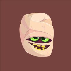 Happy Halloween head mummy isolated on dark background. Vector illustration