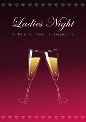 Ladies Night Plakat Champagner