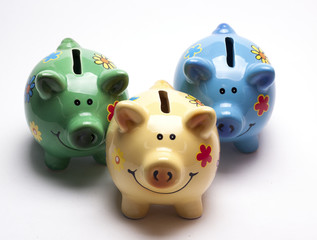 colored children's piggy Bank on white background/pig piggy Bank for kids/ isolated objects, ceramics, children
