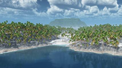Tropische Inseln mit Palmen