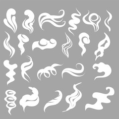 Set of Smoke, Clouds, Fog and Steam Cartoon Vector Illustration. White smoke flat icon isolated for game, advertising.