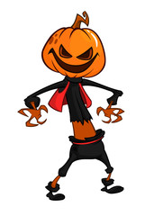 Halloween scary orange yellow cartoon  pumpkin scarecrow. Vector illustration