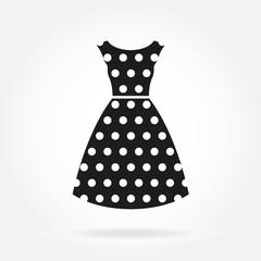 Dress icon. Women's dress in polka dot. Vector illustration.