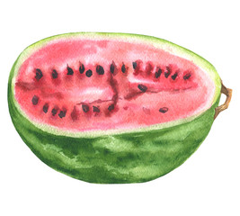 Hand drawn watercolor half of watermelon illustration, food drawing isolated on white background.