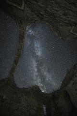 Milky Way Galaxy rising over ancient ruined church at Zhrebchevo dam,Bulgaria