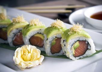 Sushi japanese roll uramaki with kadaif pastry