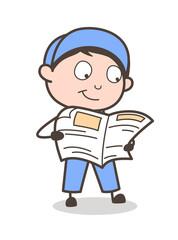 Cartoon Boy Searching Job in Newspaper Vector Illustration