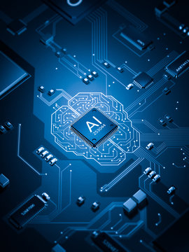 artificial Intelligence electronic circuit board future of technology 3d rendering