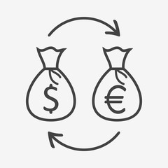 Currency exchange monochrome icon. Money bags with dollar and euro sign. Vector illustration.