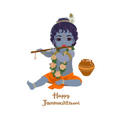 Krishna janmashtami greeting card. Dahi handi festival vector illustration with little Krishna playing the flute isolated vector illustration