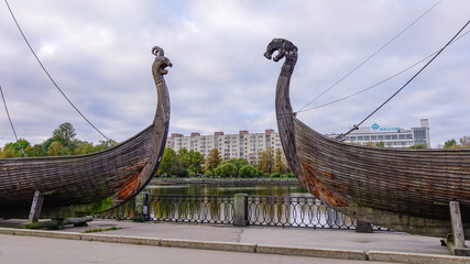 Drakkar (Viking wooden boat) on the waterfront