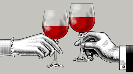 Hands of man and woman clink glasses with red wine