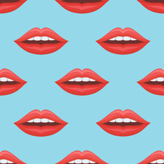Seamless pattern with woman red lips on blue background. Vector texture.