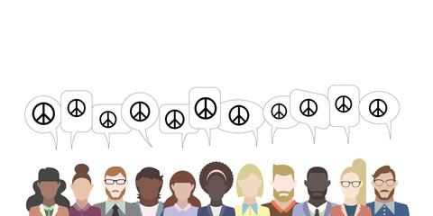 Leute mit Sprechblasen - Peace-Symbol