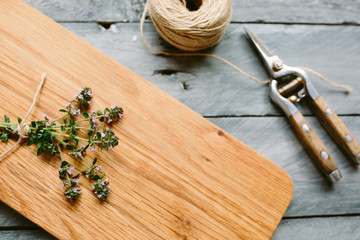 Flowering Thyme on a wooden board