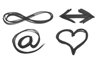 e-mail, heart, arrow and symbol of infinity, black marker isolated on white background
