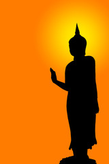 The silhouette of a Buddha image with light of intellectual