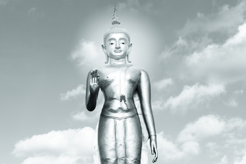 The black and white statue of the Buddha