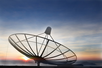 Silhouette image of a satellite dish