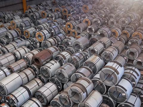 Steel coils storing inside warehouse.