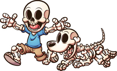 Cartoon skeleton boy and skeleton dog. Vector clip art illustration with simple gradients. Each on a separate layer.