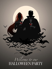 Silhouettes of couple of vampires on a cloud of bats holding red wine glasses