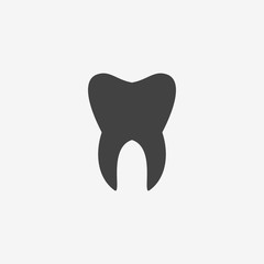 Tooth monochrome icon. Vector illustration.