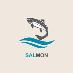 icon of salmon fish with waves