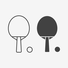 Table tennis bat and ball monochrome icon. Vector illustration.