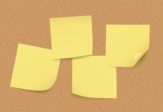 Four empty vector yellow post it notes on cork board