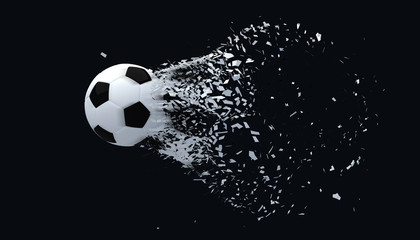 Fast shooting football black and white color on black background.3D Rendering