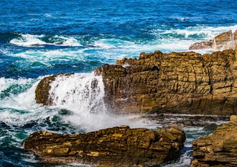 Breaking waves on the coast of the Otter Trail at the Indian Ocean